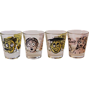 Set of 4 Vintage Roving Google Eye Witty Saying Shot Glasses