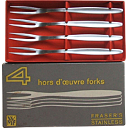 WMF Cromargan Germany Laurel Set of 4 Stainless Steel Hors d'oeuvre Snail Cocktail Forks in Original Box