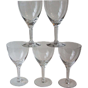 5 Seneca Glass Company Corinthian Crystal Water Goblets Cut 1300 Stem 331