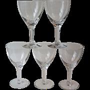 5 Seneca Glass Company Corinthian Crystal Water Goblets Cut 1300 Stem 331