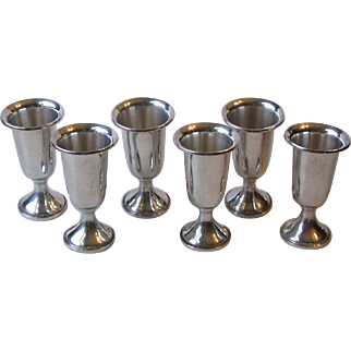 Set 6 Vintage Towle Silversmiths Sterling Silver 58 Weighted Cordial Cups Goblets