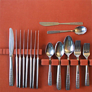 44 Pc Set International Serenata Stainless Flatware Service for 8 Plus Four Serving Pieces