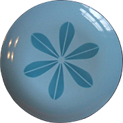 Cathrineholm Norway Blue on Blue Lotus Enamel Dinner Plate 10 1/4 Inch Mid Century Modern