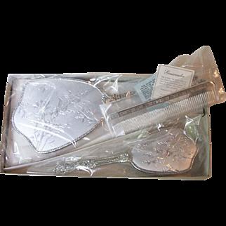 Vintage Matson Silver Plate Vanity Set Hair Brush Comb Hand Mirror Hummingbird Design New in Box PO 8303