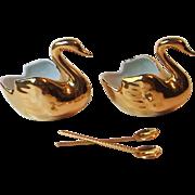 Veritable Porcelaine D'Art Limoges France Gold Plated Swan Open Salt Pepper Cellars with Spoons