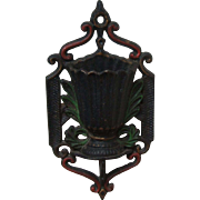 Vintage Wilton Cast Iron Painted Urn Match Stick Holder with Strikers Wall Hung