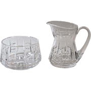 Vintage Waterford Crystal Creamer and Open Sugar Bowl 111/348 Vertical Horizontal Cut Design