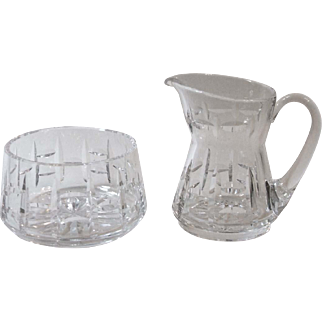 Vintage Waterford Crystal Creamer and Open Sugar Bowl 111/348 Vertical Horizontal Cut Design