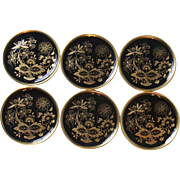 Set of 6 Hutschenreuther China Germany Coasters Black Gold Onion Danube Design