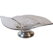 Viking Epic Clear 2 Part Relish Dish with Sterling Silver Base Mid Century Glass