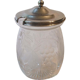 Crystal Grape Etched Jam Jar with Sterling Silver Lid Rogers Lunt and Bowlen 230