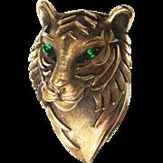 Vintage Crown Trifari Tiger Head Brooch Pin Green Eyes Gold Tone