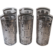 Set 6 Vintage Georges Briard Facade Highball Glasses Silver Cityscape