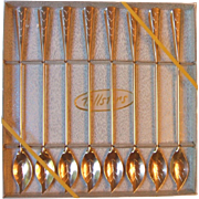 Boxed Set 8 Vintage Gold Aluminum Ice Tea Spoons Tallstirs Walther Co Leaf Shape Stirrers