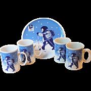 Porsgrund 1994 Lillehammer Winter Olympics 4 Porcelain Mugs 1 Plate Norway Child Skiing