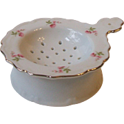 Vintage Porcelain 2 Piece Tea Strainer and Drip Cup Set 9582 Pink Floral