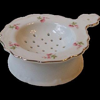 Vintage Porcelain 2 Piece Tea Strainer and Drip Cup Set 9582 Pink Floral