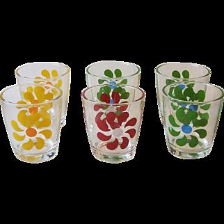 6 Hazel Atlas Vintage Retro Pinwheel Half Pint Sour Cream Beverage Glasses 950