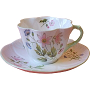Shelley 13977 Wild Anemone Cup and Saucer Dainty Shape Green Trim Fine Bone China England