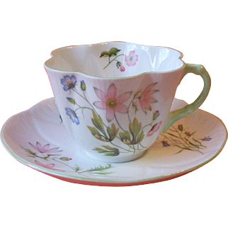 Shelley 13977 Wild Anemone Dainty Cup and Saucer Bone China England