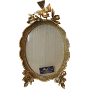 Vintage Matson Vanity Gold Plated Oval Photo Frame Bird on Dogwood Branch Ormolu F1742