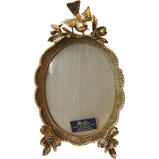 Vintage Matson Vanity Gold Plated Oval Photo Frame Bird on Dogwood Branch Ormolu F1742