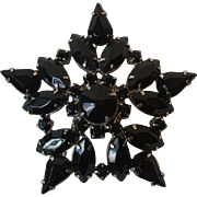 Vintage Large Jet Black Glass Rhinestone Star Flower Brooch Pin Unsigned
