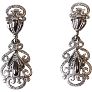 Vintage Crown Trifari Silver Tone Filigree Open Work Lacey Dangle Clip On Earrings