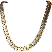 Alfred Philippe Crown Trifari Gold Tone Tessellated Honeycomb Choker Necklace Pat 143,349