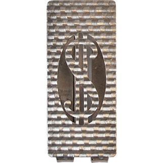 Vintage 1960s 800 Silver Money Clip with Cut Out US Dollar Sign Arezzo Italy 35 AR