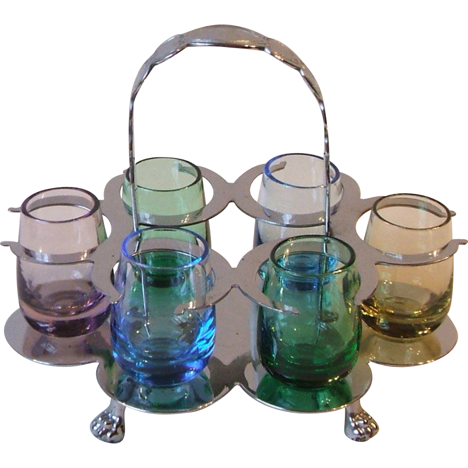 Vintage Farberware Chrome Holder Caddy With Six Colored