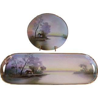 Noritake Hand Painted Sandwich Tray and Plate Country Cottage Scene Trees Lake Green Mark