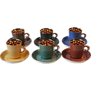 FF Figgjo Flint Norway 6 Gold Gilt Espresso Demitasse Cup and Saucer Sets MCM Multi Color