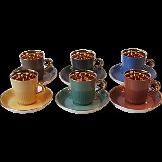 FF Figgjo Flint Norway 6 Gold Gilt Espresso Demitasse Cup and Saucer Sets MCM Multi Color