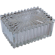 Heisey Glass Ridgeleigh Clear Rectangular Cigarette Box with Lid 4 Inch