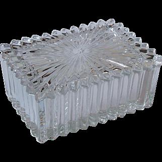 Heisey Glass Ridgeleigh Clear Rectangular Cigarette Box with Lid 4 Inch