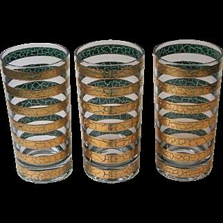 3 Culver Regiment Mid Century Modern 22K Gold Crackle Band Highball Tumblers Glasses