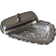 Oneida Wm A Rogers Du Maurier Silverplate Butter Dish with Lid and Glass Liner Insert Quarter Pound