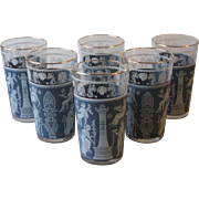 Set of 6 Jeannette Glass Corinthian Blue 10 Oz Tumblers Greek Wedgwood Classical Figures