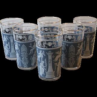 Set of 6 Jeannette Glass Corinthian Blue 10 Oz Tumblers Greek Wedgwood Classical Figures