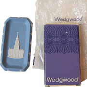 Vintage Wedgwood Blue Jasperware Pin Dish Bicentennial Independence Hall 1976 NIB