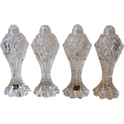 2 pair Bohemia Czech Clear Cut Crystal Tall Salt and Pepper Shakers 7.75 Inch Glass Tops