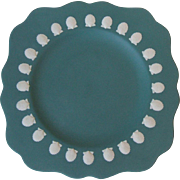 Wedgwood England Teal Jasperware Square Salad Plate Scallop Shells 1984