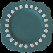 Wedgwood England Teal Jasperware Square Salad Plate Scallop Shells 1984
