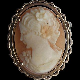 Vintage Krementz Genuine Shell Oval Cameo Brooch Pin Bust of Woman Flowers in Hair
