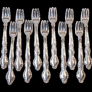 1965 International Deepsilver 11 Wakefield Silverplate Cocktail Seafood Forks