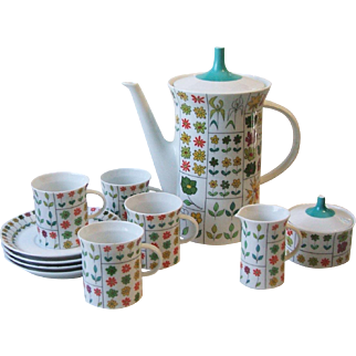 Rosenthal China Emilio Pucci Piemonte Demitasse Coffee Pot Set Service for Four Mid Century Germany