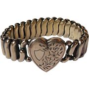 Vintage SOB S. O. Bigney Gold Filled Expandable Flex Bracelet Engraved Heart