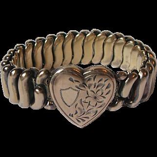Vintage SOB S. O. Bigney Gold Filled Expandable Flex Bracelet Engraved Heart