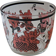 Vintage Hazel Atlas Pink Black Dancing Drunk Musician Elephants Glass Ice Tub